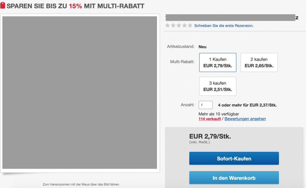 Multirabatt, eBay, Multi-Rabatt